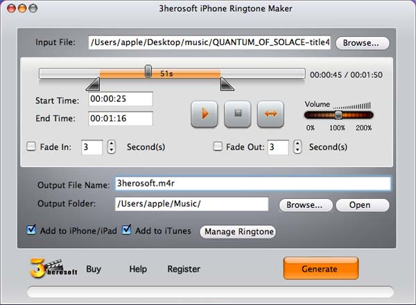 3herosoft iPhone Ringtone Maker for Mac Download