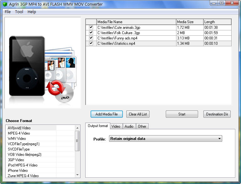 Agrin 3GP MP4 to AVI FLASH WMV Converter Download