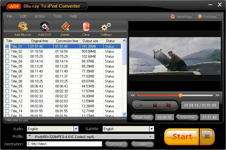 AinSoft Blu-ray to iPod Converter Download