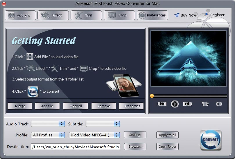 Aiseesoft Mac iPod touch Video Converter Download