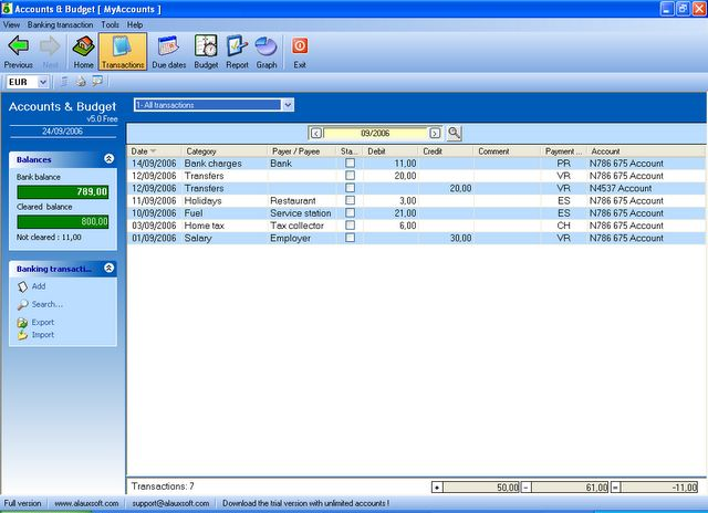 AlauxSoft Accounts and Budget Free Download