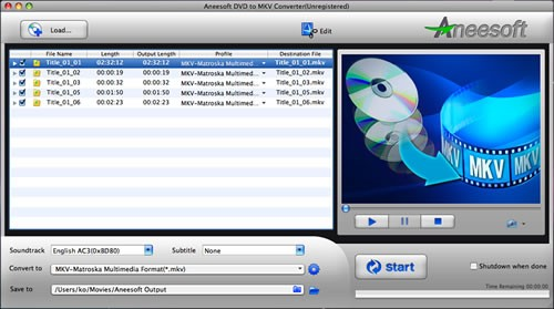 Aneesoft DVD to MKV Converter for Mac Download