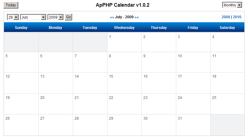 How to build a web calendar in PHP