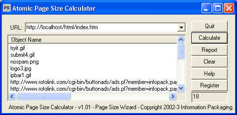 Atomic WebPage Size Calculator Download