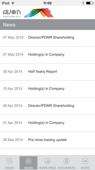 Avon-Rubber Investor Relations App for iPhone Download