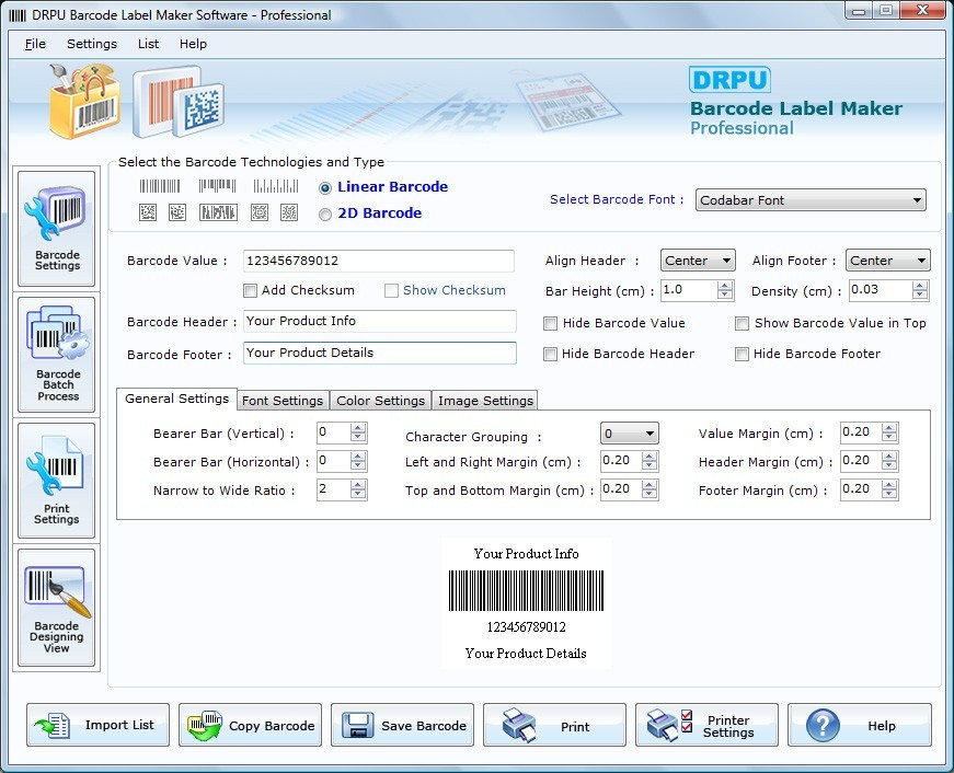 Screenshot, Review, Downloads of Shareware Barcode ...