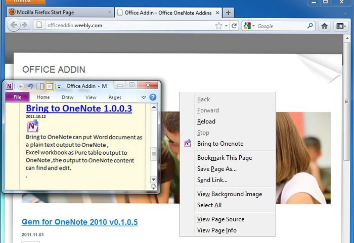 Bring to OneNote for Firefox Download