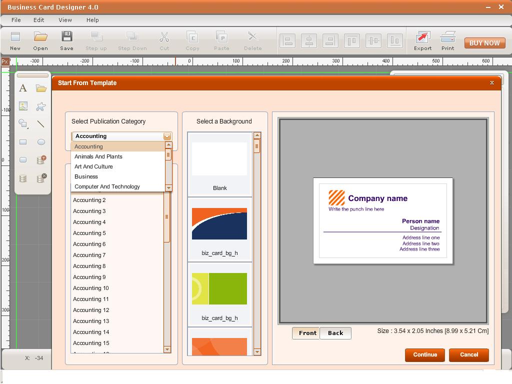 Card software for Office design tool