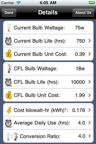 CFL Light Bulb Savings Calculator Download