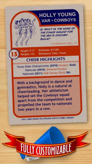 Cheerleader Card Maker - Make Your Own Custom Cheerleader Cards with Starr Cards Download