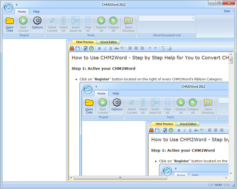 Screenshot Review Downloads Of Shareware Chm2word 2012