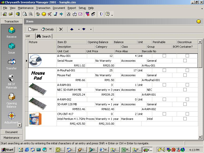 Chrysanth Inventory Manager 2001 Download