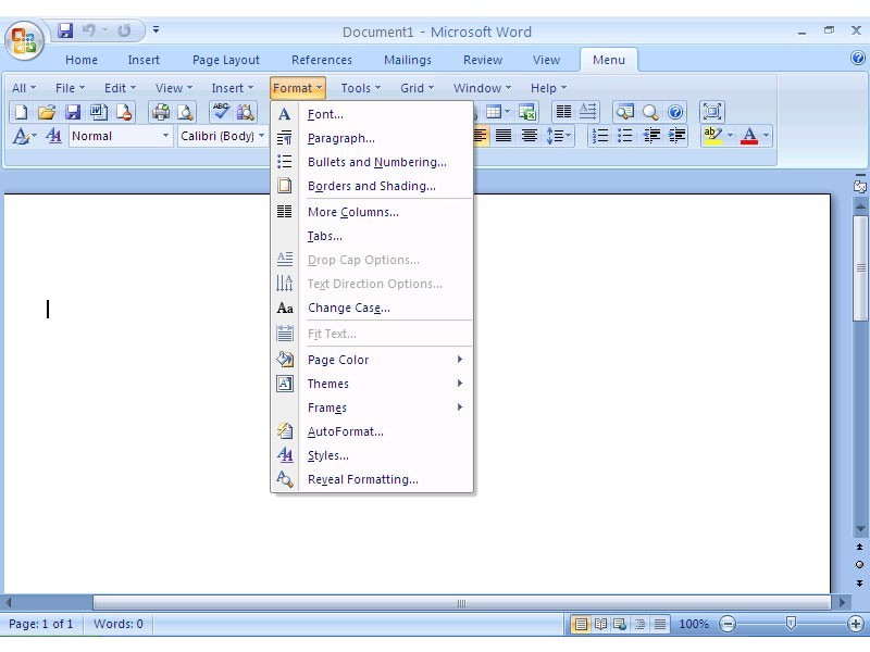 Classic Menu for Word 2007 Download