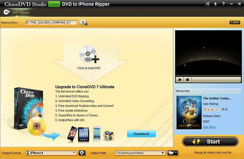 CloneDVD Free DVD to iPhone Converter Download