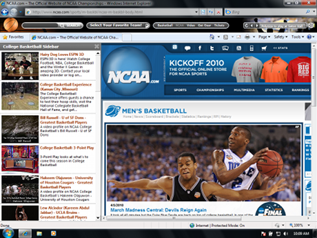 College Basketball IE Browser Theme Download