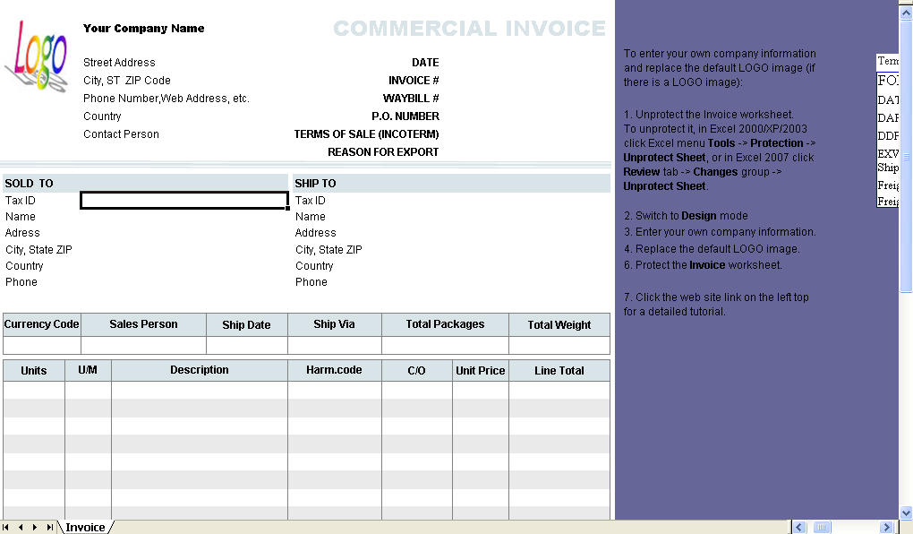 Commercial Invoice Template Download