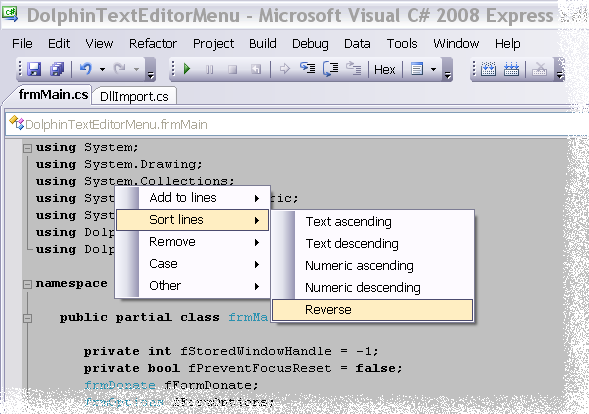 Dolphin Text Editor Menu Download