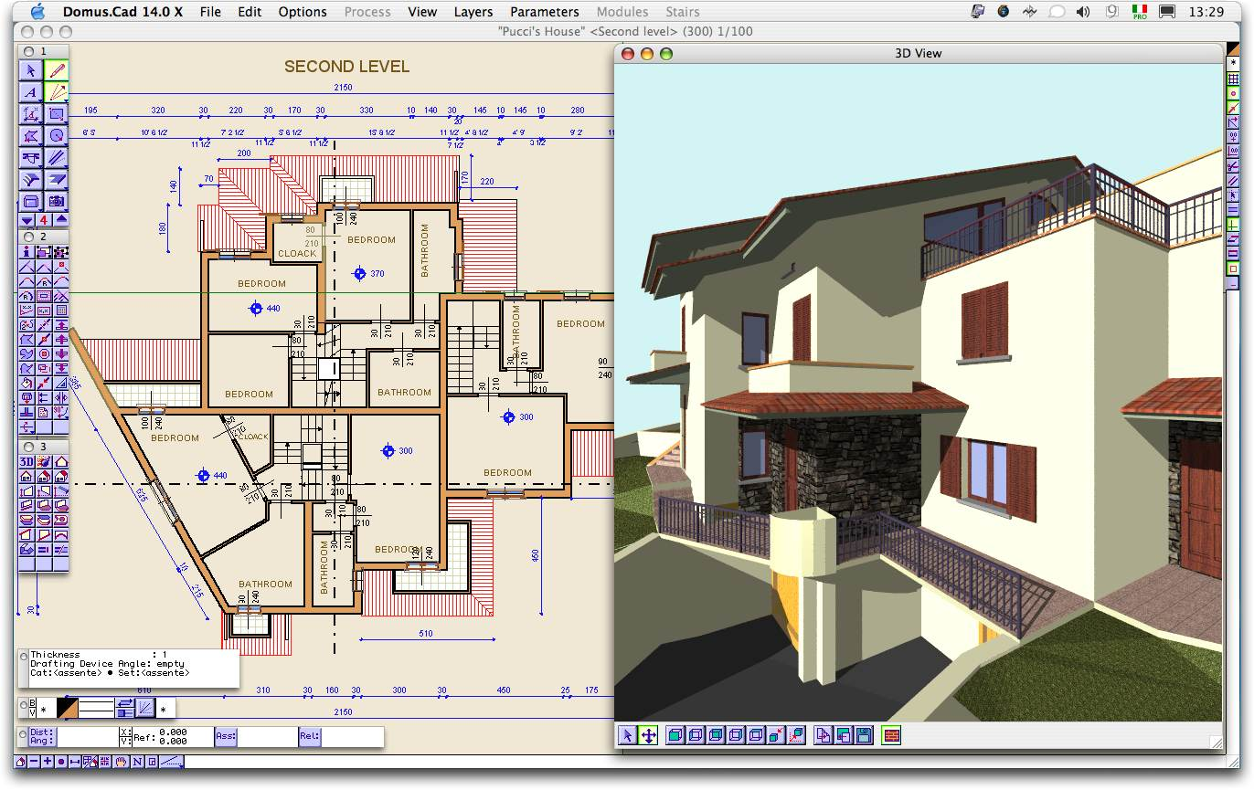 Screenshot review downloads of shareware domus cad 3d house plan software