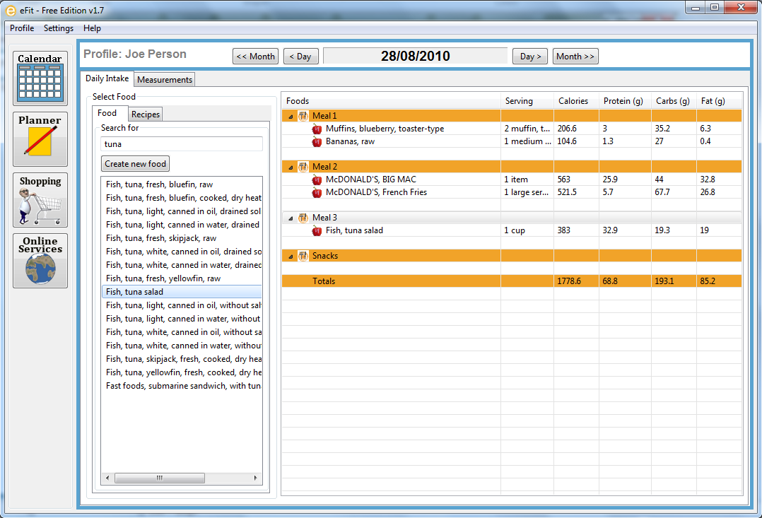 Screenshot, Review, Downloads of Freeware EFit Free Edition