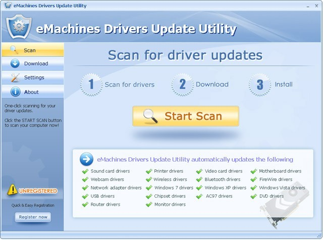 eMachines Drivers Update Utility For Windows 7 64 bit Download