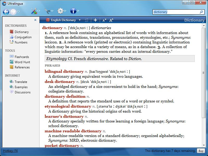 English Dictionary & Thesaurus by Ultralingua for Windows Download