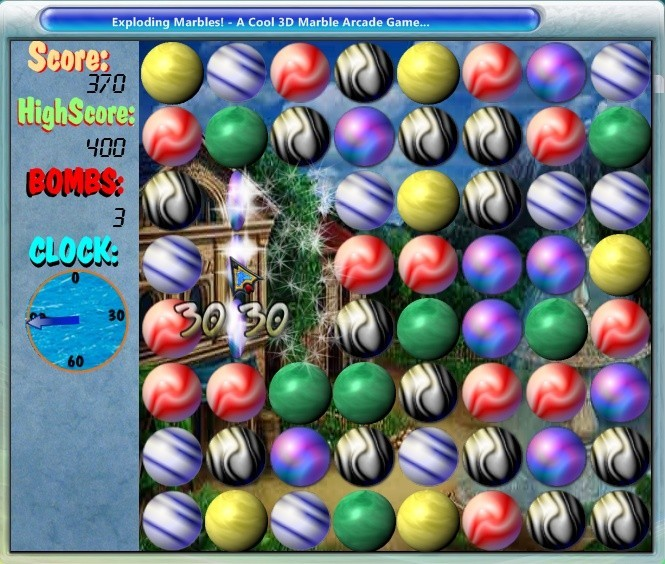 Screenshot, Review, Downloads of Shareware Exploding Marbles!