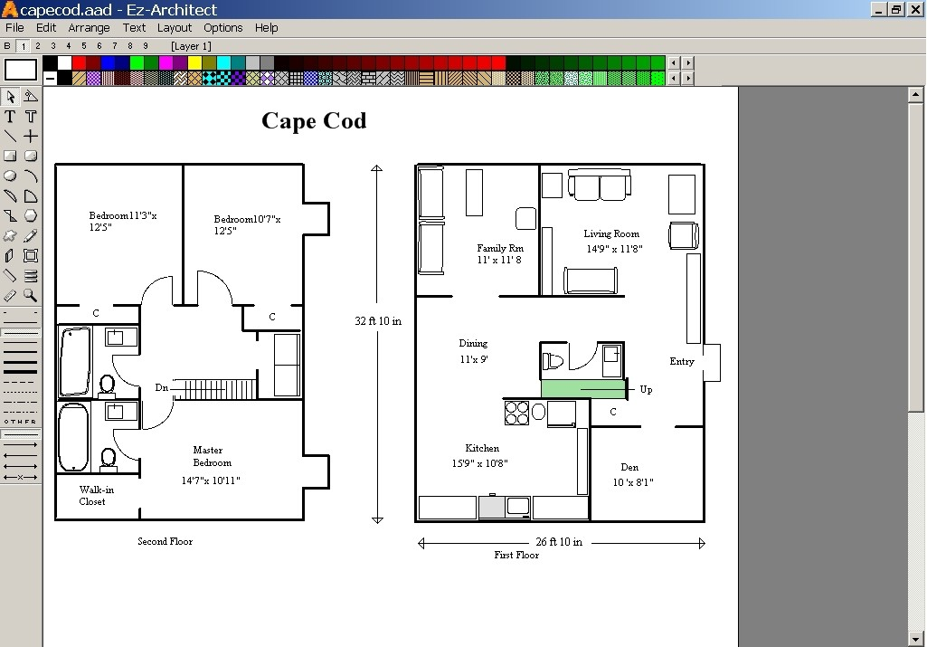 Screenshot review downloads of demo ez architect Simple software for home design
