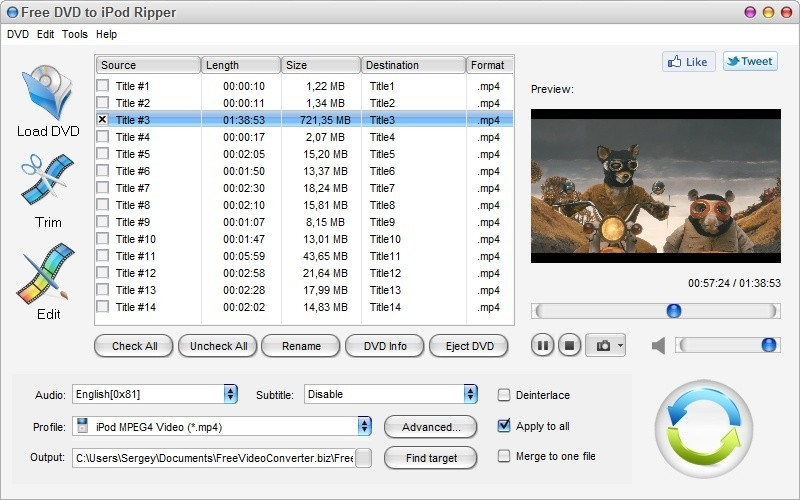 Free DVD to iPod Ripper Download