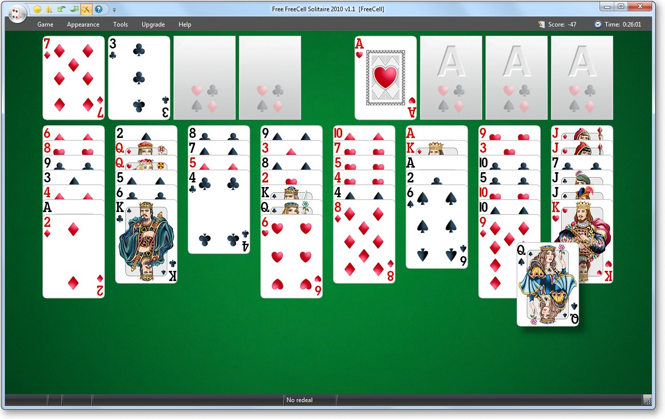 Screenshot, Review, Downloads of Freeware Free FreeCell Solitaire