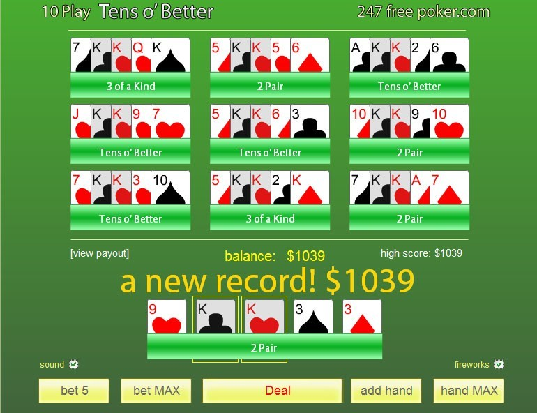 Free Poker 10's or Better 10-Play Download