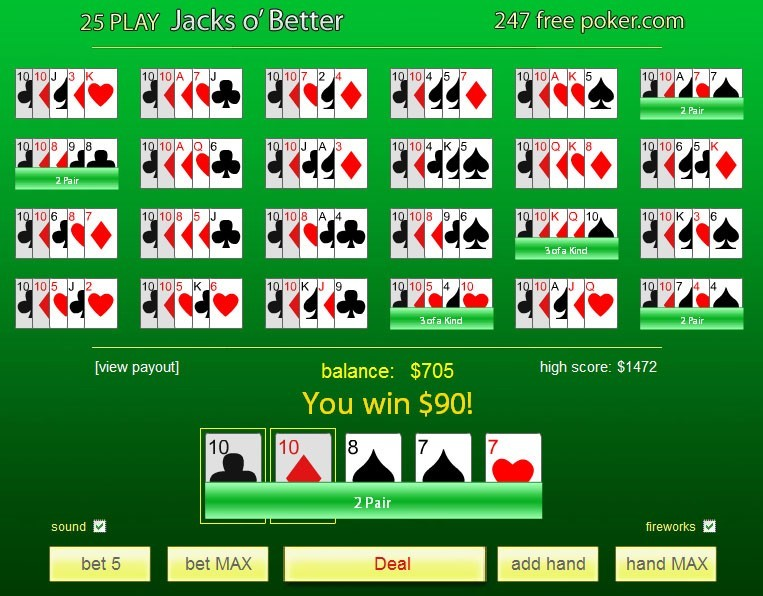 free poker games jacks better