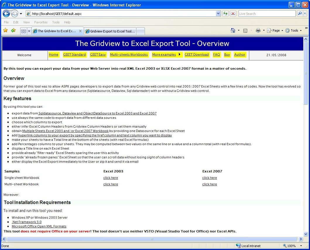 Gridview to Excel Export Tool Download