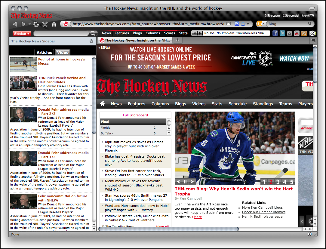 Hockey News IE Browser Theme Download
