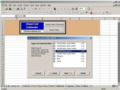 HomeCost Estimator for Excel Download