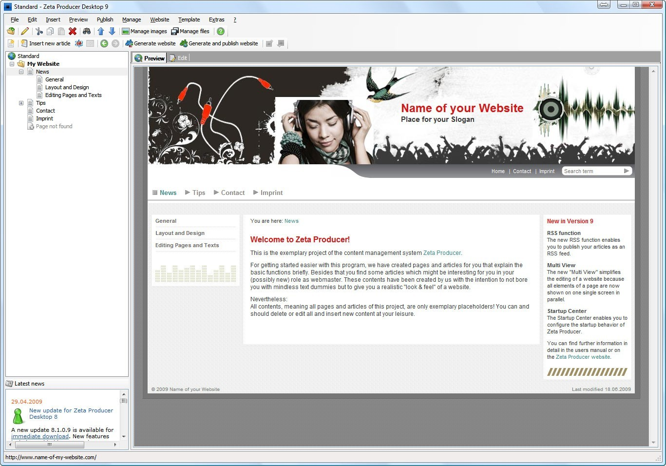 Homepage Generator Zeta Producer CMS Download