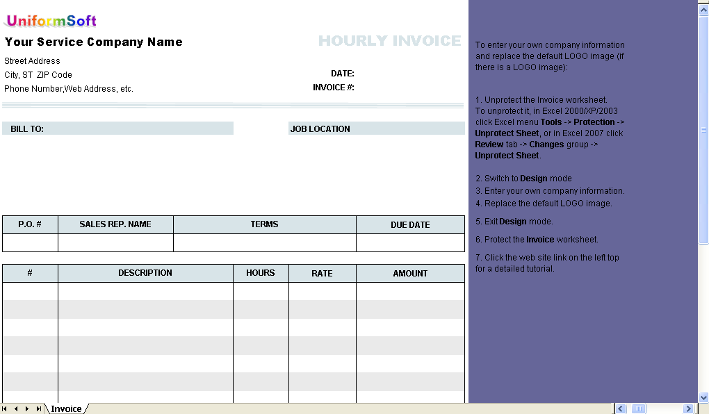 Hourly Invoice Form Download