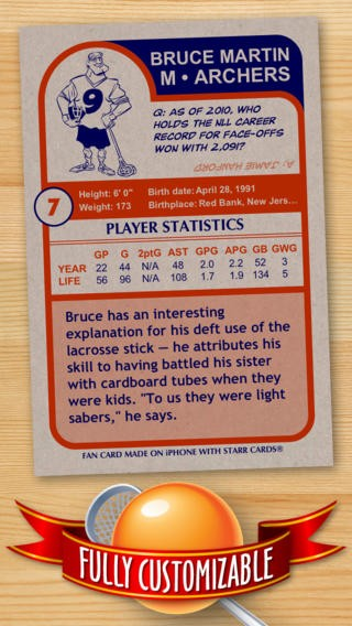 Lacrosse Card Maker - Make Your Own Custom Lacrosse Cards with Starr Cards Download