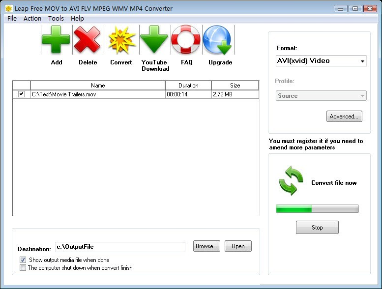 Leap Free MOV to AVI FLV MPEG Converter Download