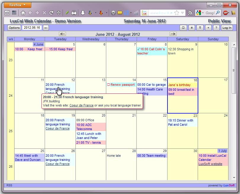 LuxCal Web Based Event Calendar Download