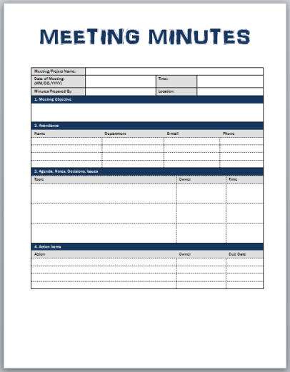 Minutes of meeting template xls for Taking minutes in a meeting template