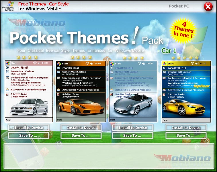Mobiano free Pocket PC Themes - Car Pack 1 Download