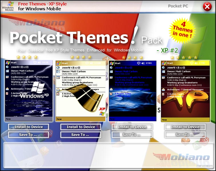 Mobiano Free Pocket PC Themes - XP style Pack #2 Download