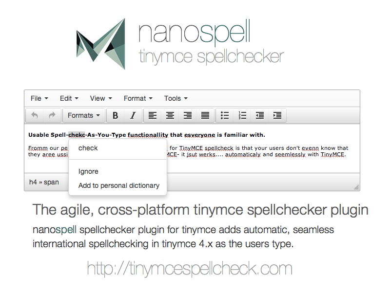 NanoSpell TinyMce SpellChecker Plugin Download