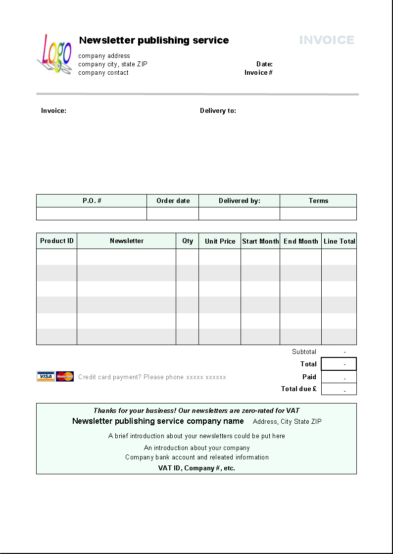 Newsletter Publishing Invoice Template Download