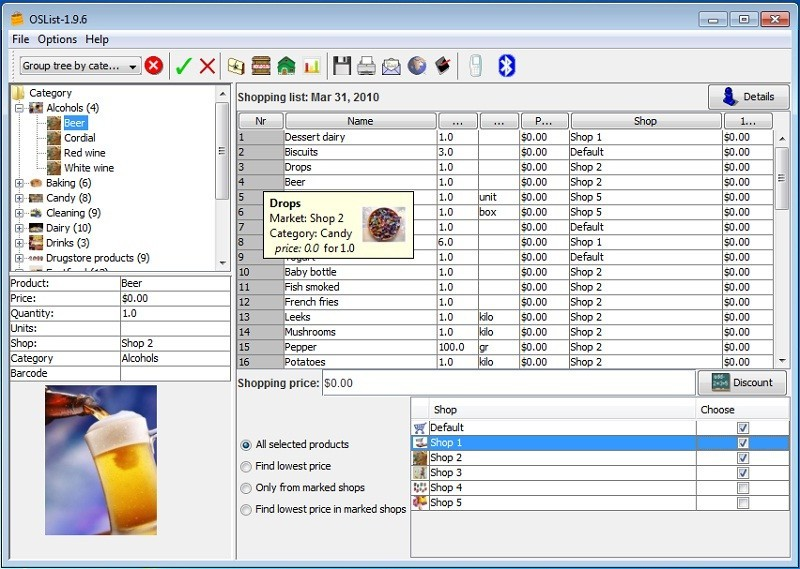 Screenshot, Review, Downloads of Shareware Optimal Shopping List Maker