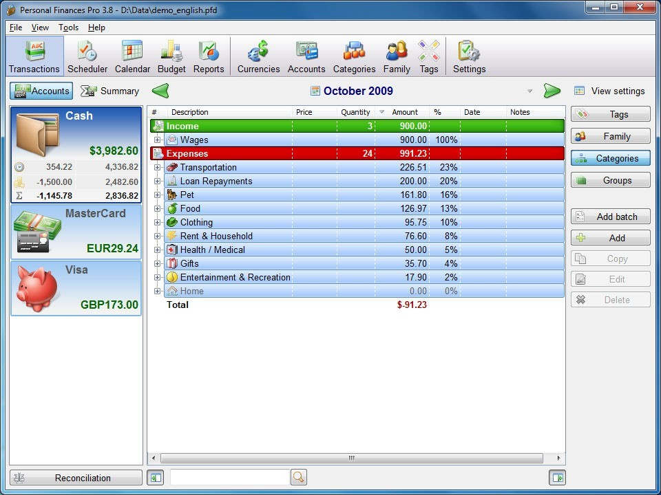 Personal Finances Home Download