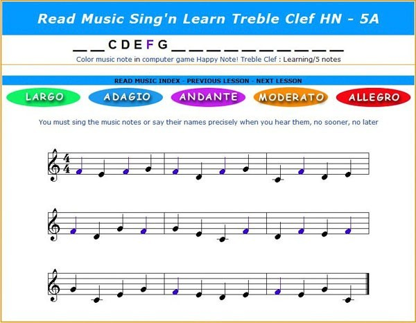 how to read music notes for beginners, children. From 2 to 17 different music notes in Treble Clef and Bass Clef,