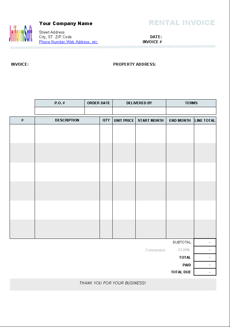 Rental Invoice Template Download