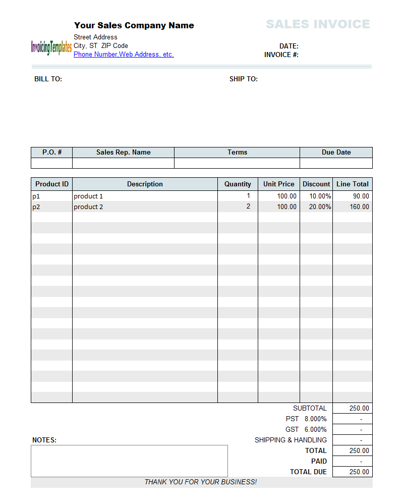 Sales Invoice Template with Discount Per Download