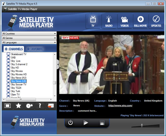 Satellite TV Media Player Download